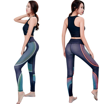 04e88cab77878 Spring quick dry stretch women girls black fitness sport yoga tights pants  magic colors stripe printed