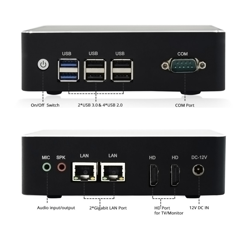 dual lan dual HD display dual wifi wind10 wind7 pro fanless small mini pc n3160 j3160 with rs232 serial port free logo