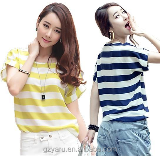 Women short sleeve casual models striped chiffon blouses