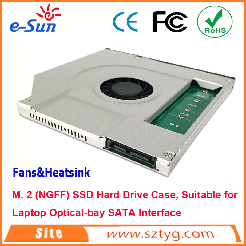 2016 hot sell SATA M. 2 (NGFF) SSD Hard Drive Caddy/ Case with cooler fan for 9.5mm Universal Laptop CD / DVD-ROM BG