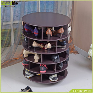 Wooden Rotating Shoe Rack With Wheels