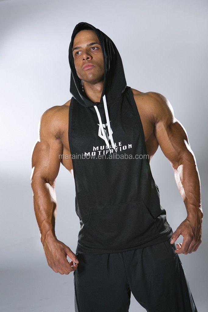 c1be295d9 OEM Men's Black Racerback Stringer Hoodie with White String Gym Fitted Sleeveless  Hoodie Deep Cut Pullover Hoodie Wholesale