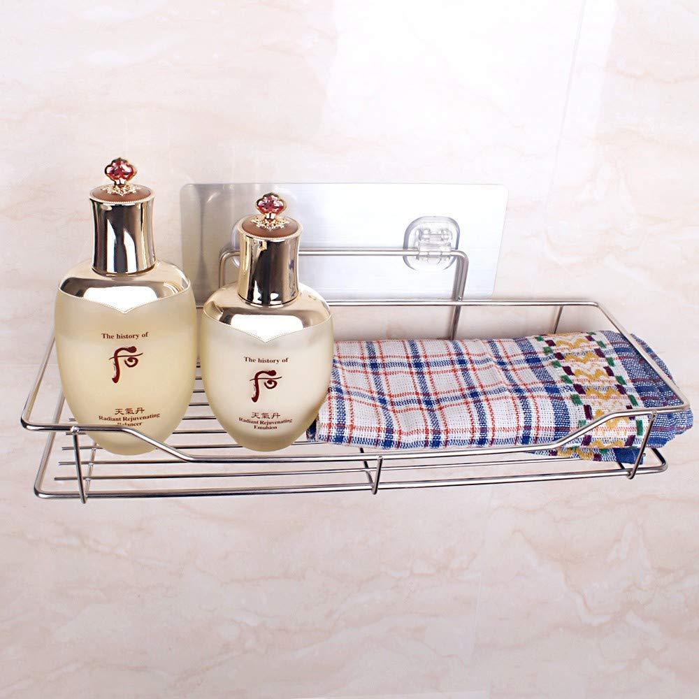 Bathroom shelf Stainless steel bathroom kitchen seamless non-poring adhesive finishing storage rack