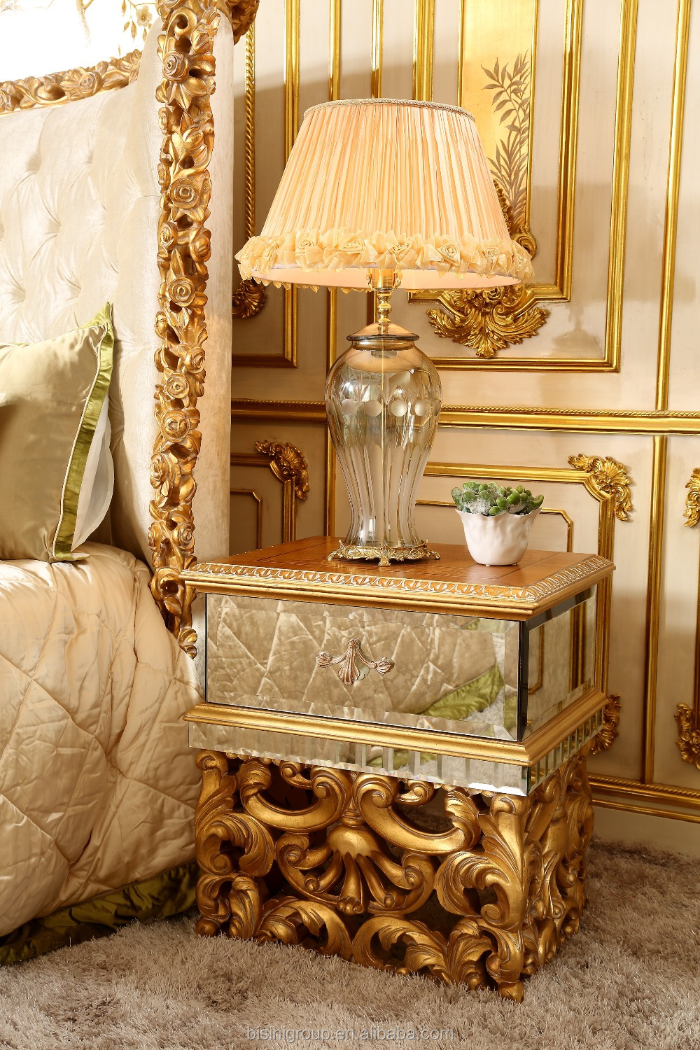 Bisini Luxury Style Mirror Faced Hand Carved Gold Foil Wooden Bedside Table Of Wedding Bedroom Furniture Bf07 10058 Buy Wooden Bedside Table Hand