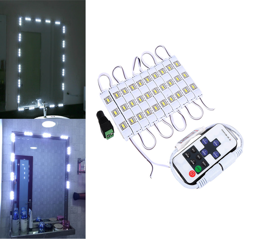 Remote Control LED Dressing Mirror Makeup Vanity Light Door Decor White Lamp Set