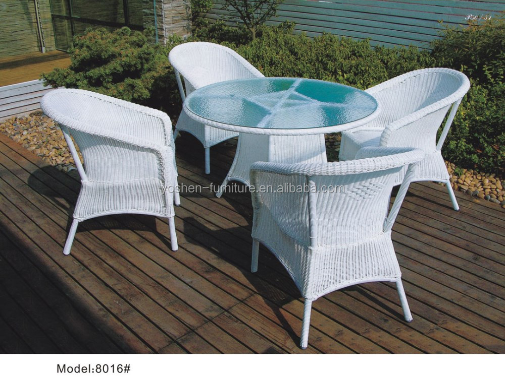 5pcs White Round Rattan Outdoor Dining Table With 4 Chairs In Garden Furniture 100cm And