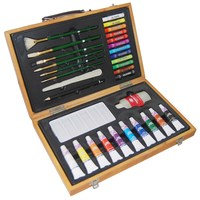 47-piece watercolor cakes & drawing set wood kit jumbo art set