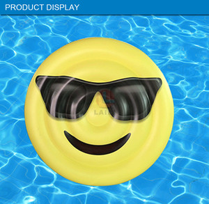 Huge 160 CM Emoji Swimming Pool Float Sunglasses Emoticon /Shape Cute pvc inflatable Raft