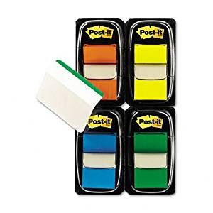 "Post-it : Flags/Tabs Value Pack, Assorted Colors, 200 1"" Flags, 12 Filing Tabs per Pack -:- Sold as 2 Packs of - 225 - / - Total of 450 Each"