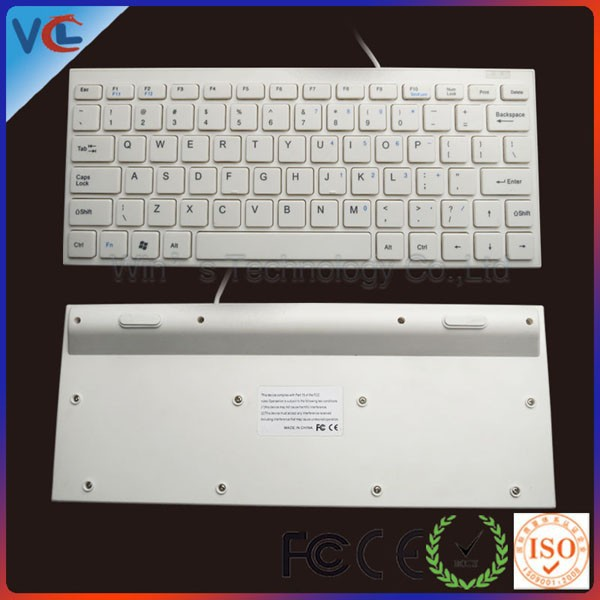 white wired pc usb small keyboard with 79keys