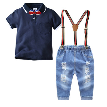baby boy gentlemen 3pcs outfits sets 2019 summer newborn baby boy clothing sets tie shirt+overall infant clothes for party wear