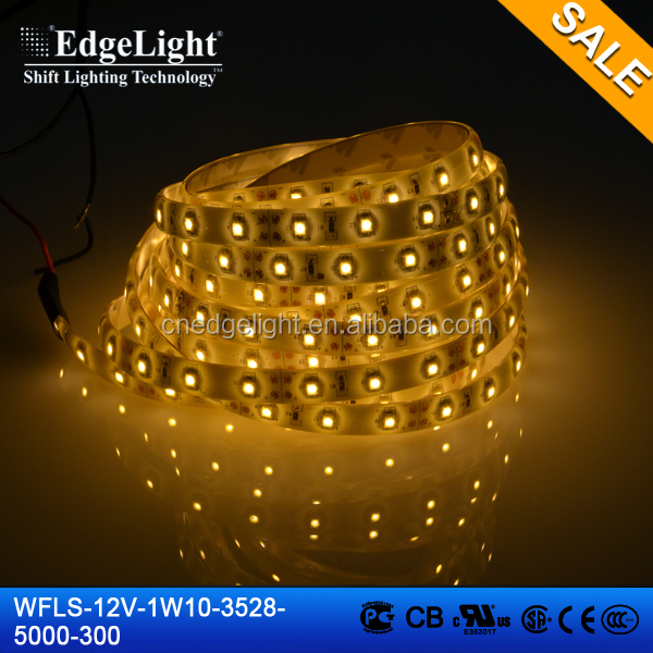 Edgelight led waterproof light , flexible led light strip waterproof outdoor bright IP65 , warm white CE/ROHS/UL LED strip