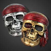 Beautiful scary party Halloween ball colorful plastic Caribbean pirate skull skeleton mask