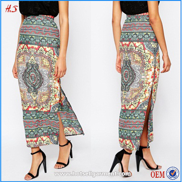 Latest Fashion Casual Skirt Maxi Long Cotton Printing Long African Skirts