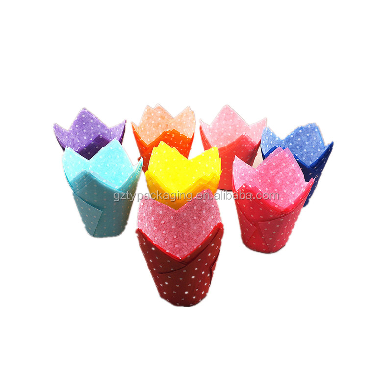 Colorful Custom Printed Greaseproof Paper Tulip Cupcake Liners