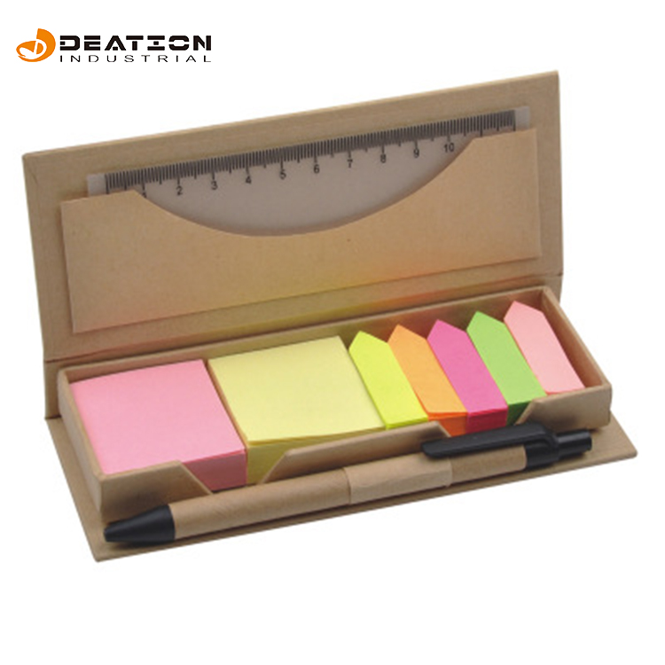 Promotionele Kraftpapier Doos Aangepaste Vorm Briefpapier Fancy Sticky Notes