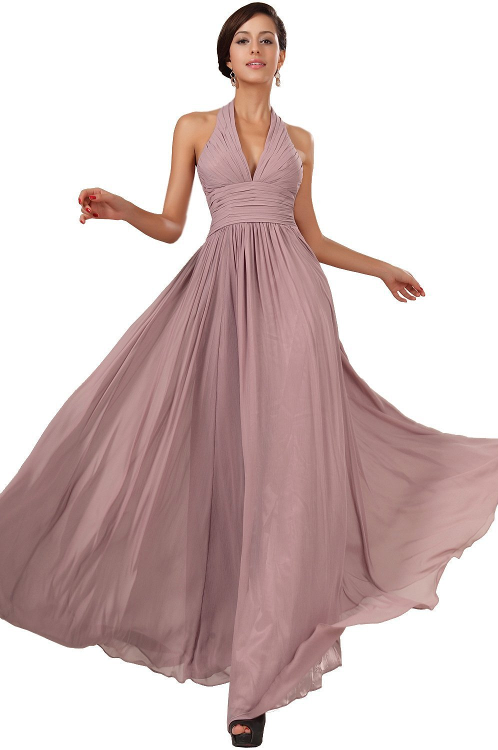 cdf0564a3f2c Get Quotations · 0053 dusty pink halter v neck ruffle chiffon formal for  ladies elegant maxi plus size evening