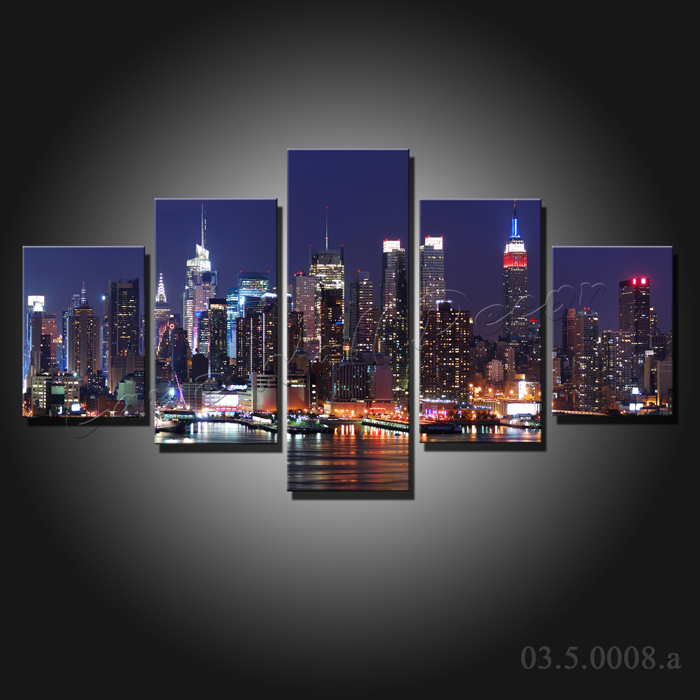 Aliexpress Com Buy 3 Pieces Wall Art New York City: 5 Pieces Large Canvas Painting New York City At Night