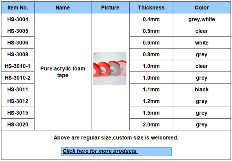 Self Adhesive Double Sided Foam Tape Welcome Customized