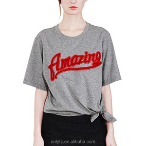 OEM service custom printing machine pattern hot selling fashion letters knot leisure T-shirt for ladies