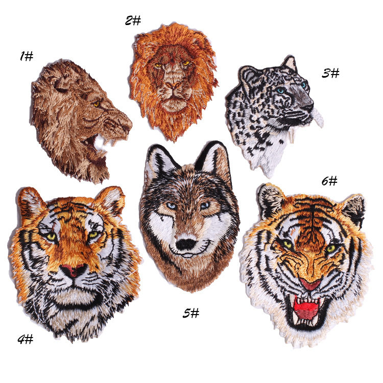 iron on embroidery wolf patches,animals tigers patches for denim jeans,embroidered badges appliques
