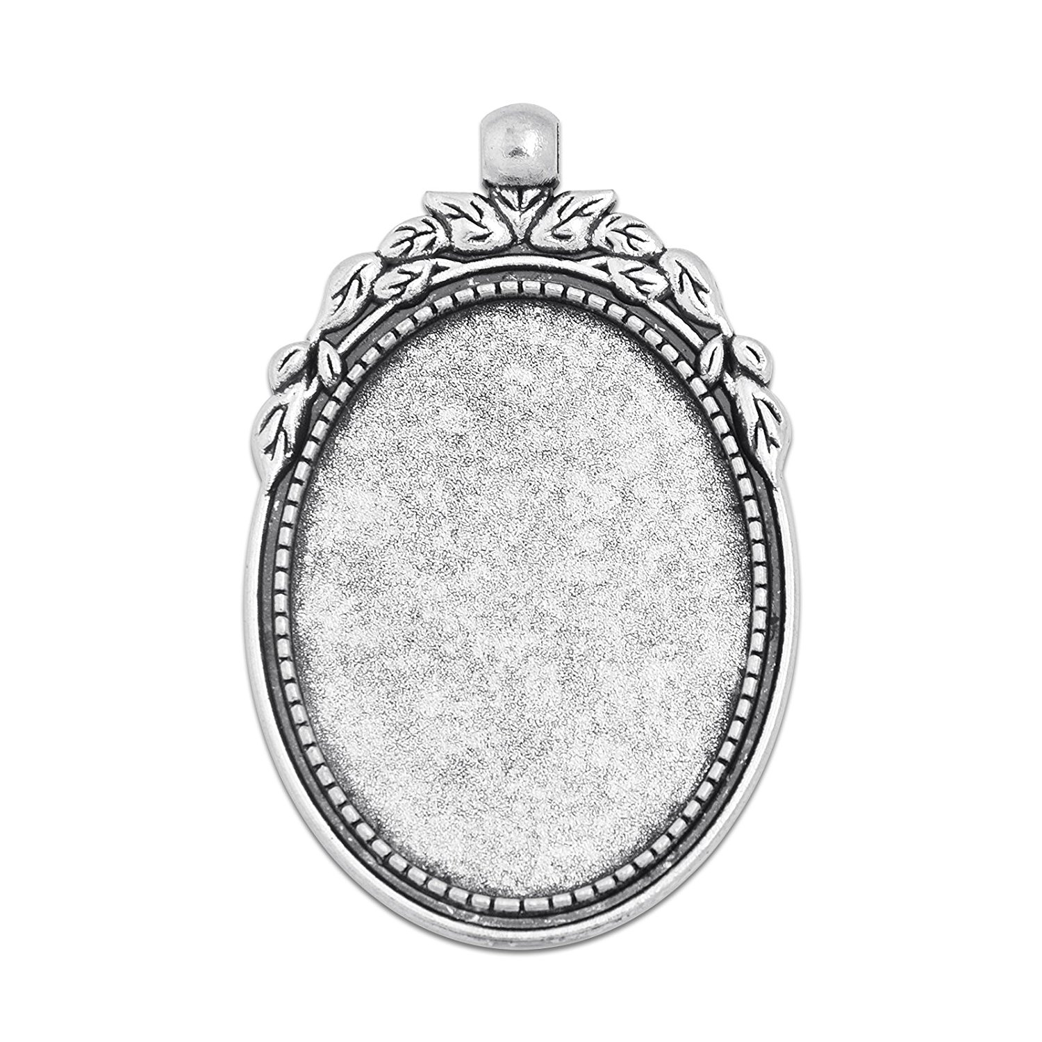 30x40mm Oval Pendant Tray Blank Base fit 30x40mm Oval Cabochon Pack of 20 (Antique Silver)