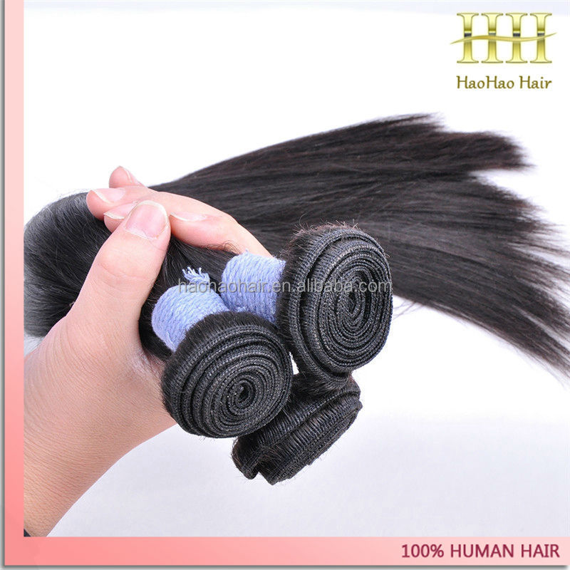 High quality supplier raw unprocessed 100 human hair straight double weft hao hao hair