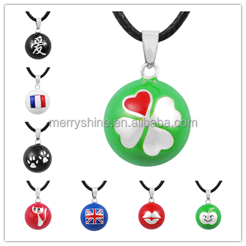 Popular Jewelry Green Bola Ball with Four Leaf Clover ,Metal Bola Bell Ball ,Bola Chime for Men and Women N14NB188