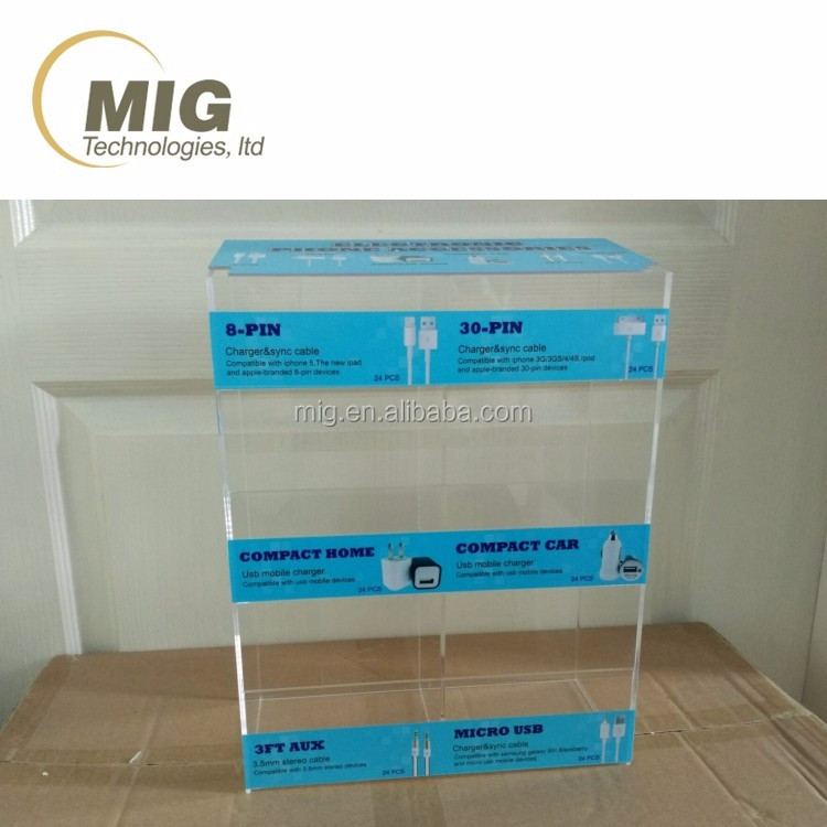Acrylic Display Rack Customize Display Rack for USB Cable and for iPhone Accessories
