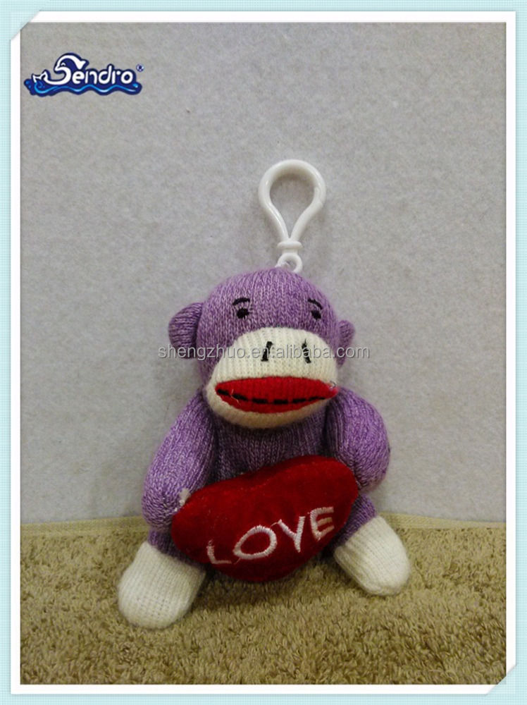 Animal purple plush sock Stuffed monkey keychain with red heart Love