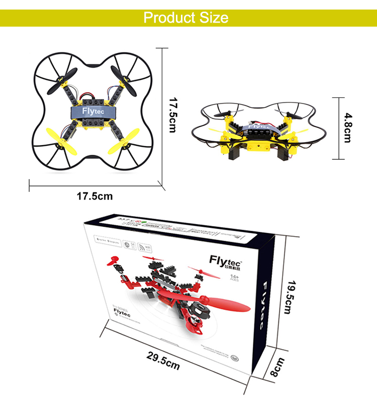 7. T11S_Yellow_WIFI_FPV_DIY_Building_Blocks_Drone_with_0.3MP_Camera_RC_Drone