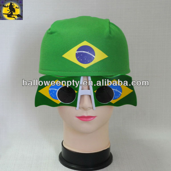 Fancy Brazil Hat with Sunglass for Soccer Fans on Sale