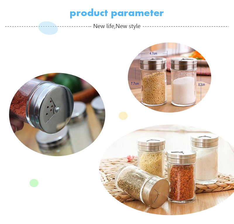 Food Container round glass bottles spice jar for seasoning condiments