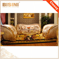 Luxury Victorian Style Solid Wood Rose Sofa Set/ Elegant Gorgeous Fabric Upholstered Sofa/European Palace Living Room Furniture