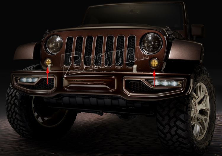 2x Round Reflector Amber 12V LED Front Turn Signal Working Light Offroad LED Work Light for Wrangler JK