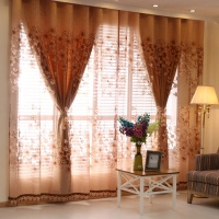 Cheap Price Turkey Floral Jacquard Grommet Window Decoration Material Drapes Voile Sheer Curtains Panels For Living Room