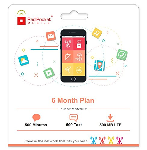 Red Pocket Mobile 6 Month Prepaid Phone Plan, No Contract, Free SIM Kit - 500 Minutes, 500 Texts & 500MB LTE - Only $10/mo