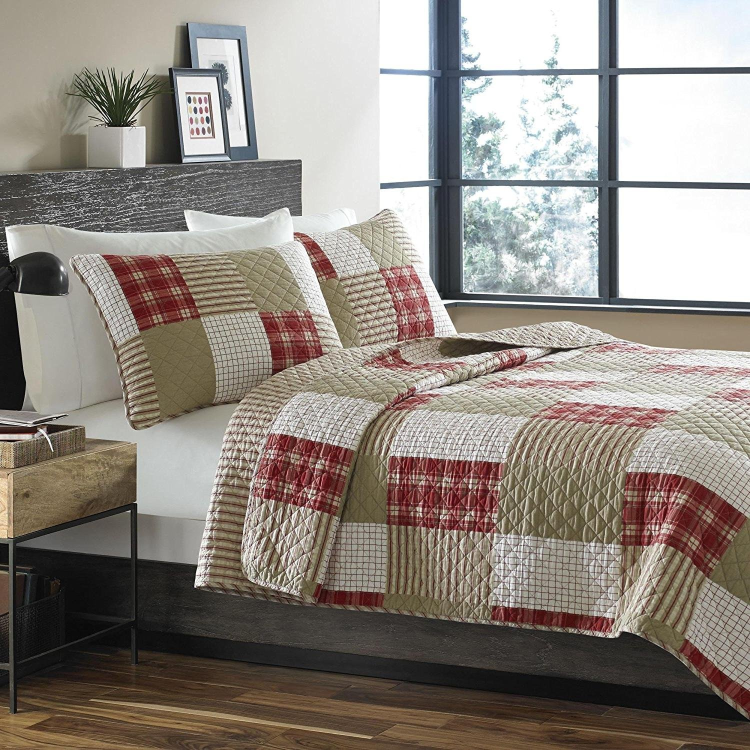 MISC 3pc Red Patchwork Full Queen Size Quilt, Square Rectangle Country Cottage Cabin Classic Themed, Patch Work, Cotton, White Beige Plaid Rugby Striped