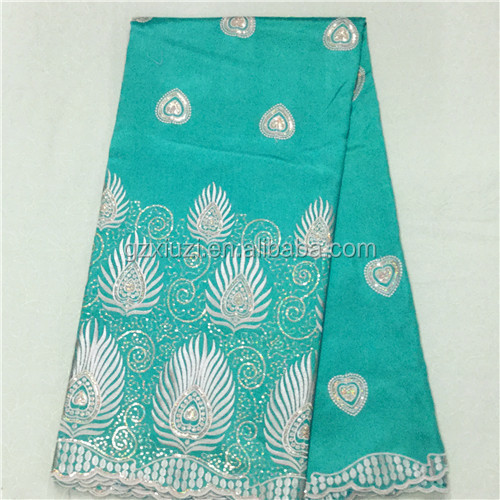 Top Quality Fancy Designing High Quality Intorica Fancy Cotton African Georges, Teal-Gold Raw Silk George Wrappers Lace Fabric