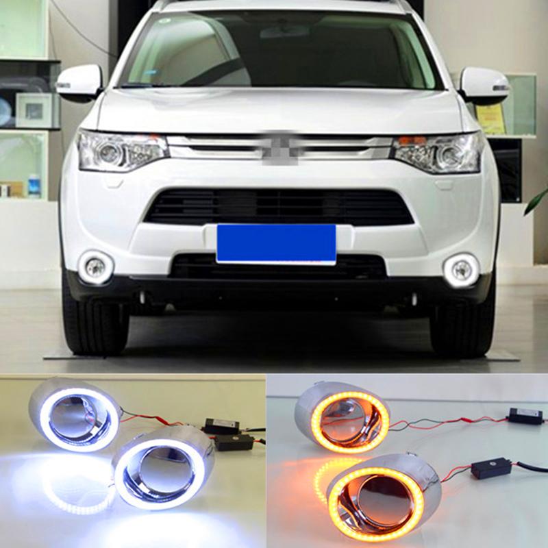 Из светодиодов DRL для Mitsubishi Outlander 2013 2014 2015 дневного света противотуманная фара с указатель поворота
