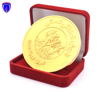 Wholesale UAE 3d relief gold coin custom gold plated souvenir coins with velvet box
