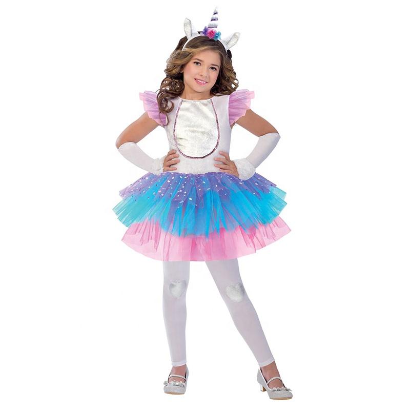 bca29e8a7 Moda Beleza Branco Bonito Da Princesa Vestido Da Menina de Partido Do  Carnaval Vestido de Unicórnio