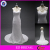 LN64 Sexy Sheer Back Slim Fitted Lace A Line Real Sample Beautiful Bridal Dress