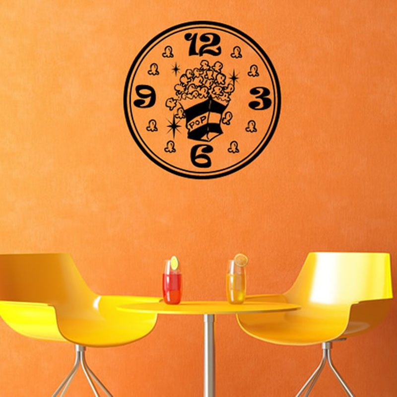 Popcorn Vinyl Sticker Wall Clock Circle Creative Modern Home Decor Removable Waterproof Vinyl Wall Deca