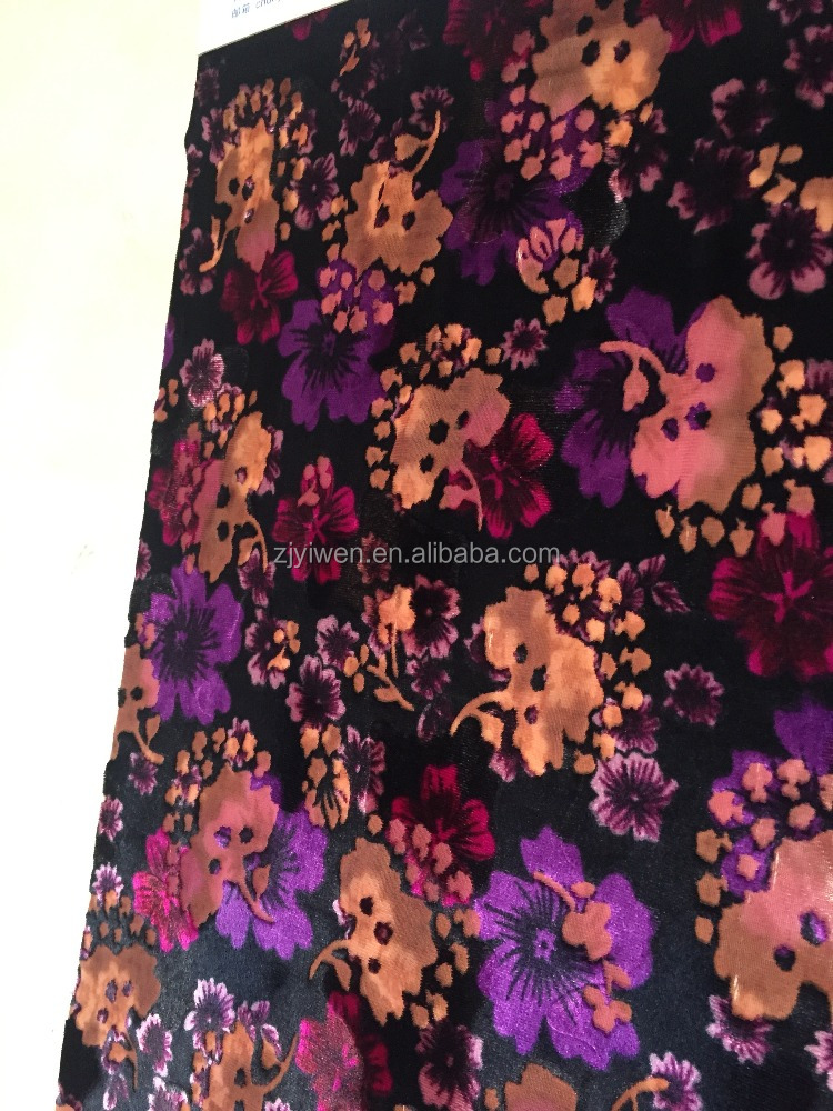 2017 new fashion design burnout+print floral polyeter nylon korea velvet fabric for dress ,garments,etc