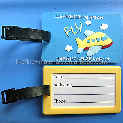 Factory Price 112*65mm PVC Luggage Tag for Airplane