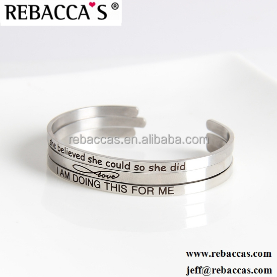Custom Stainless Steel Message Engraved Stacking Mantra Bangle Cuff Bracelet