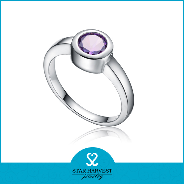 Amethyst color zircon stone pewter ring