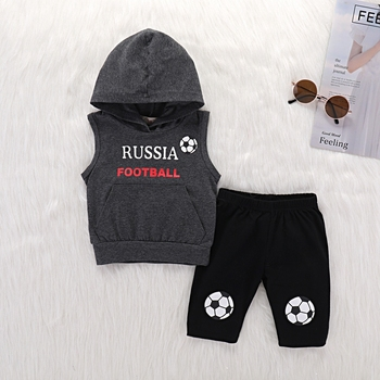 b40ce4301852 2PCs Kids Baby Boys Clothes Casual Football Letter Printed Hooded Sleeveless  Tops+Pants Set Outfit