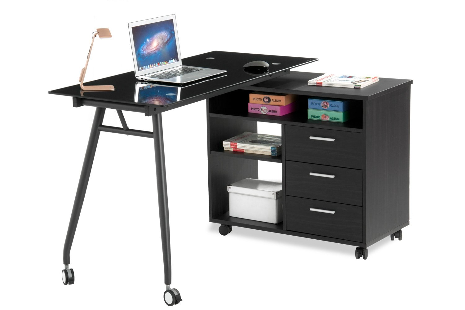 ProHT L-Shape Black Glass Portable Office Desk (05007A): Computer/PC/Laptop Desk/Table/Workstation w/ Drawers and Wheels, Chocolate & Charcoal Black. Designed to the Highest Quality.